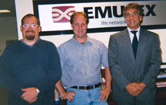 Warren Razzaboni (Emulex DVT Director), Jeff Kopko (Emulex QA Manager) and Norm Hebert at Emulex
